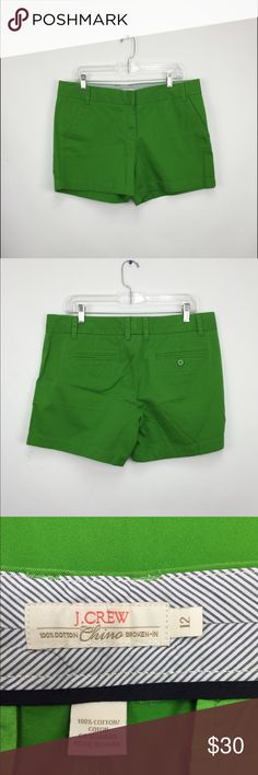 J. Crew Chino Shorts These are J. Crew green chino shorts. Features two pockets in the back and front. J. Crew Shorts
