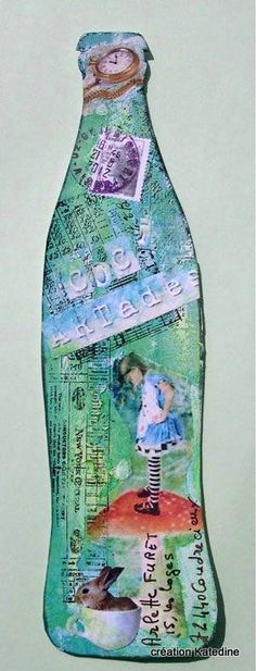 bottle - use as album? Altered Canvas, Altered Art, Tag Art, Art Altéré, Art Postal, Art Carte, Decorated Envelopes, Mail Ideas, Collage