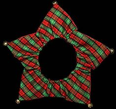 Red & Green Tartan Christmas Jester Bell Collar Pet Dog Puppy Cat Bandana Costume Dress Festive Gift Fun