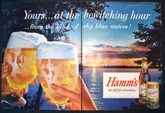 1955 Hamm's Beer sky blue water lake Viewart Print Ad - Original Vintage Ad - Hamm Brewing Co