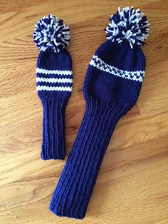 Golfers will love these striped knit club covers. This easy pattern includes two sizes so you can protect your putters, irons and woods. Great gift idea for men or, made in prettier colors, for women! Knitting Squares, Loom Knitting, Knitting Patterns Free, Knit Patterns, Free Knitting, Free Pattern, Crochet Toys, Knit Crochet, Golf Club Head Covers