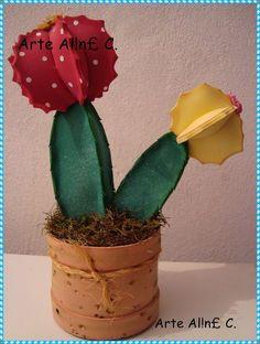 Arte Al! Cactus Craft, Cactus Pot, Cactus Decor, Cacti, Felt Flowers, Diy Flowers, Fabric Flowers, Paper Flowers, Foam Crafts