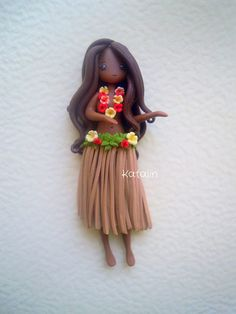 Hula girl polymer clay doll. By Katalin Handmade 2013 #fimo #doll #chibi #hawaii #hula #kawaii #polymerclaycharm #kawaiicharm #charm