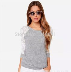 $19.07 Back Hollow Sweet and Little Sexy Lace Patchwork Lady/Girl Long T-shirt