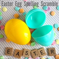 Love this Easter Egg Word Scramble - A Spelling Game for Kids! #easter #wordscramble #thehappygal