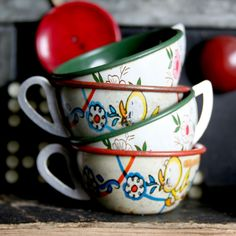 Tin tea cups.  Perfect for a nip of tea.