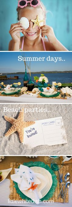 Our inspiration came from the beach front, ocean view of the pacific. Our tableware and decor will take guess on a journey through sand and salt water. Beach Table Settings, White Dishes, Youre Invited, Little White, Beach Party, Event Planning, Invitations, Tableware, Decor