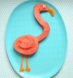Cute & Healthy Snack Idea: A Pretty Pink Flamingo