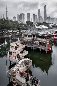 Yu Garden Teahouse with the modern skyline from Pudong in the background.  I have this one framed in my home . . . the photographer signed the photos for me.  Check out his studio on Taikang Lu or order online.  Rui Yuan is very talented . . . his photos remind me of my favorite places in China when I am home in the USA.
