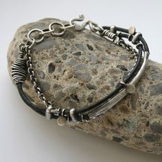 Sterling Silver Leather Bracelet