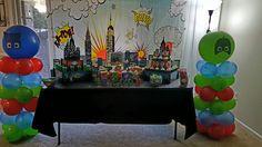 PJ Mask Dessert Table and Balloon Column