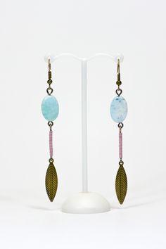 Boucles d'oreilles fines, agates, plumes bronze #gadhorre #jewelry