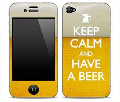 "New ""Keep Calm And Have A Beer"" iPhone 3G/3GS, iPhone 4/4s, iPhone 5, iPod Touch 4th or 5th gen, Samsung Galaxy S2 or S3 Skin"