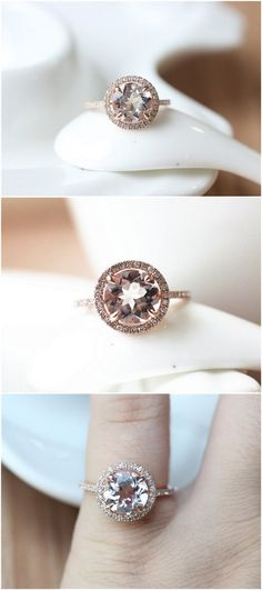 Rose Gold Halo Morganite Engagement Ring / http://www.deerpearlflowers.com/inexpensive-engagement-rings-under-1000/2/