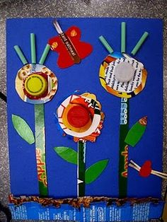 Fun Earth Day Idea...use cereal boxes and small lids to make a flower garden!