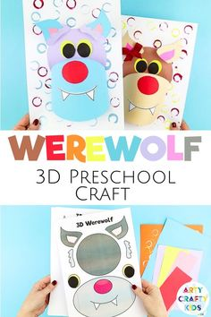 Looking for DIY werewolf crafts for kids to make at home or preschool this fall? These 3D paper wolf crafts for kids are fun + easy to make with our printable Halloween craft templates! Get printables + videos for these preschool werewolf crafts for kids + easy Halloween crafts for kids ideas here! Printable Halloween Crafts for Kids Preschool   Easy Paper Halloween Crafts for Kids Werewolf   Wolf Craft Preschool for Kids   Wolf Craft for Kids Paper   Wolf Crafts for preschoolers #preschool Paper Crafts For Kids, Crafts For Kids To Make, Preschool Crafts, Spooky Halloween Crafts, Paper Halloween, Wolf Craft, Easy Art For Kids, Reindeer Craft, Rainy Day Crafts