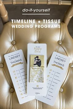 Use our free editable file to create your own wedding timeline programs, complete with a darling little wedding tissue on the backside for happy tears!