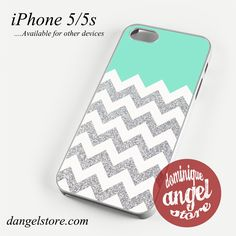 Blue Silver Glitter Chevron Phone case for iPhone 4/4s/5/5c/5s/6/6 plus