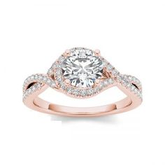 2.15CT White Excellent Round Cut Swarovski Zirconia Diamond Engagement Ring in 10KT Rose Gold