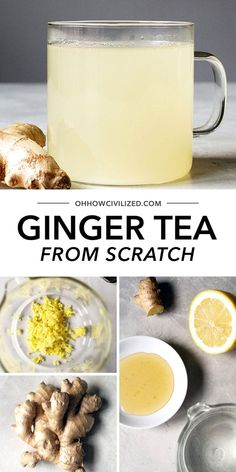 This easy recipe from Oh How Civilized is perfect for warming up during the chillier months of the year! Ginger tea is a delicious cup of tea made easily with lemon and honey! Using just a few shortcuts you'll be surprised how quickly this herbal drink comes together! #gingertea #herbaltearecipe #hottea #tearecipe Yummy Drinks, Healthy Drinks, Nutrition Drinks, Refreshing Drinks, Detox Drinks, Healthy Foods, Hot Tea Recipes, Ginger Tea Recipes, Fresh Tumeric Recipes