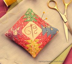 Pincushion ~ embroidery, patchwork piecing and traditional sewing