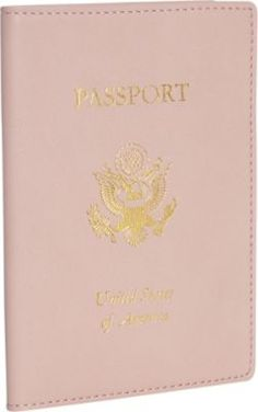 Carnation pink leather passport cover