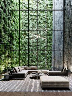 Future House, Dream Home Design, Modern House Design, Green House Design, Modern Minimalist House, Modern Houses, Design Exterior, Living Room Green, Living Walls