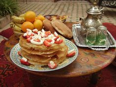 Delicious Moroccan breakfast at Riad Aguerzame Marrakech Morocco