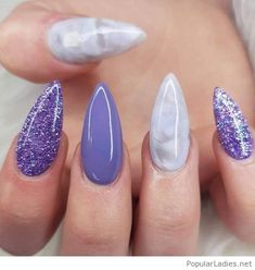 Lovely long purple manicure