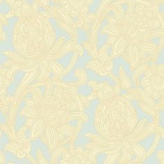 Viola (290601) - Arthouse Wallpapers - This Italian vinyl has a stunning Jacobean style floral trail, with raised stitch detail. Available in 6 colours – shown in the cream and soft blue.  Please request sample for true colour and texture.