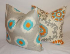 grey orange blue  brown pillows | ... Turquoise Blue Grey Orange Pillow Cover Decorative Throw Pillow 18x18