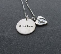Mommy Necklace With Baby Feet and Custom name charm, push present, mother's day gift, baby feet in heart, #handmade #handstamped #kristenscustomcreations