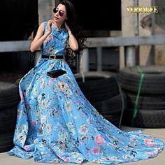 Verragee High-end European and American Big Big Swing Long Floral Chiffon Dress Length Skirt Large Size Women