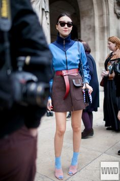 They Are Wearing: Paris Fashion Week  Photo by Kuba Dabrowski  Rather reminds me of a Brownie Girl Scout uniform - but at least the colors coordinate - I've seen worse...