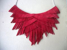 Red Suede Fringe Necklace by HaKNiK on Etsy