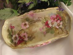 """DARLING ROMANTIC PRIMROSES"" Antique Limoges France Vintage Hand from oldbeginningsantiques on Ruby Lane"