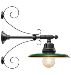 Carson Straight Arm Wall Mount |Rejuvenation        http://www.rejuvenation.com/catalog/products/carson-straight-arm-warehouse/configurations/carson-straight-arm-with-shallow-dome-shade-gloss-green-with-double-scroll-support