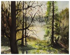 Original sunny forest and lake watercolor by ArtwaveStudio on Etsy