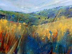 Lorna Holdcroft ~ Recent Paintings: Sussex Meadow II - Acrylic on canvas 80 x Abstract Landscape Painting, Watercolor Landscape, Landscape Art, Landscape Paintings, Abstract Art, Pastel Art, Acrylic Art, Painting Inspiration, Art Photography