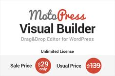 MOTOPRESS: Drag and Drop Editor for WordPress (unlimited license) - $29!