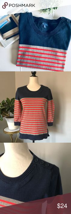 """Gap Striped Knit Sweater Striped knit sweater from Gap.  Cotton, nylon, & acrylic.  Three buttons on left shoulder.  Colors are navy blue, orange, & mousy brown.  Slightly longer in back.  Cropped sleeves.  Size medium but in my opinion it fits more like a small (please use measurements to determine fit).  Approx measurements Pit to pit: 17"""" Shoulder to hem: 23.5""""  👗 Dress form is a size 4/6 🏠 Pet & smoke-free home  🚫 No trades  💕 I love offers ✨ Posh Ambassador ✨ GAP Sweaters Crew…"""