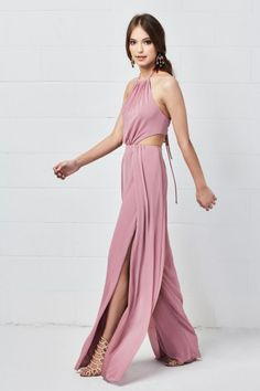 Watters 5504 Lovelle is a Luxe Chiffon bridesmaid jumpsuit with a halter neckline, side cut outs, an open bra back, and a side slits in the wide legs. Dessy Bridesmaid, Blush Pink Bridesmaids, Bridesmaid Dresses, Bridesmaid Jumpsuits, The Great Gatsby, Wedding Pantsuit, Bridal Reflections, Glamour, Bridal Dresses