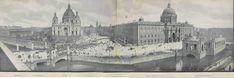 Panorama von Lustgarten, Dom und Königliches Schloß 1904 - von links: das Alte Museum, der Dom, das Schloss und im Wasser das Nationaldenkmal Wilhelm I.