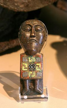 Figurine from bronze kettle from the Viking age, found in Myklebust, Eid, Sogn og Fjordane regional municipality, Western Norway. From an exhibition in Bergen museum.
