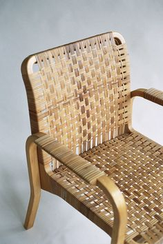 Caned armchair 45 by Alvar Aalto seat