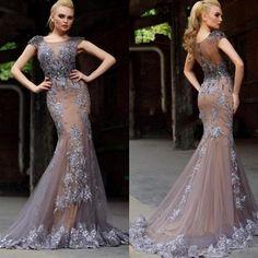 Lace wedding dress 2016 Grey Mermaid Short Sleeve Formal Dress Applique Sheer Illusion Bodice Court Train Long Us $153