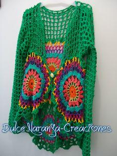 Saco tejido en crochet Diseño Verónica Colinir