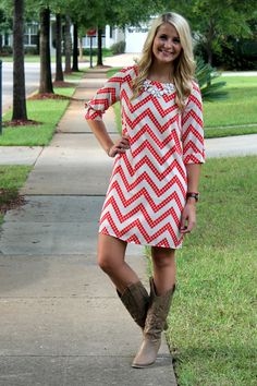 Fall Chevron Shift Dress! www.ThePatrioticPeacockBoutique.com  *20% of all Patriotic Peacock Shop profits go to Mercy's Mission, a foundation that helps orphans in the Congo.