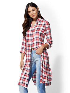Red Plaid Maxi Shirt - New York & Company Maxi Shirts, Flannel Shirts, Kurta Designs, Red Plaid, Pasta, Blouses, York, Clothes For Women, Denim