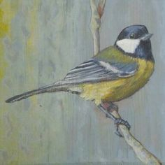 Great tit. Acrylic on reclaimed wood.